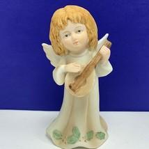 Angel figurine vintage porcelain sculpture Christmas Lefton 05636 mandol... - $19.60