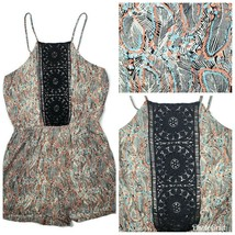 Daniel Rainn Womens Romper XS Boho Ivory Feather Print Crochet Pockets S... - $17.99