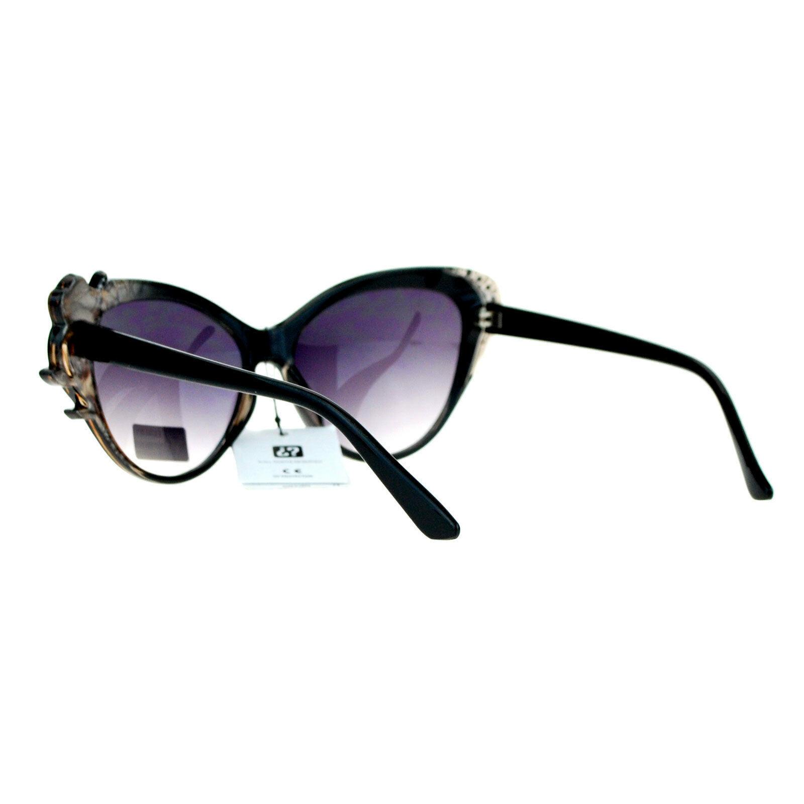 Womens Fashion Sunglasses Cateye Frame Rhinestones Rose Design Eyewear