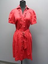 PINK TARTAN Dark Red Cotton Short Sleeve Solid Button Up Belt Dress Sz 6... - $21.71