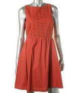 Maison Jules Eyelet Detail A-Line Dress Dry Rub Barcelona Fire Orange Dr... - $17.99