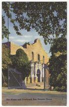 SAN ANTONIO TX - The Alamo and Courtyard - c1940s linen Texas postcard -... - $3.22