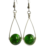 Green Teardrop Wire Wrapped Dangling Earrings - $14.90+