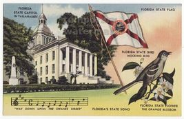 OLD GREETINGS postcard TALLAHASSEE STATE CAPITOL-FLORIDA STATE FLAG-MOCK... - $4.19