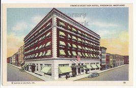 FREDERICK MARYLAND MD Francis Scott Key Hotel Building c1940s linen post... - $3.22