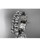 14k white gold diamond vine and leaf wedding ring, engagement ring, wedd... - $1,485.00
