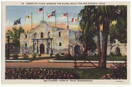 SAN ANTONIO TX - The Alamo Under Six Flags c1940s linen Texas postcard -historic - $3.22