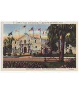 SAN ANTONIO TX - The Alamo Under Six Flags c1940s linen Texas postcard -... - $3.22