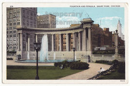 Chicago Illinois - Fountain and Pergola - Early Grant Park view - c1928 ... - $5.47