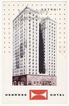 Detroit Mi  Henrose Hotel Cadillac Square~ Ca 1960s Vintage Advertising Postcard - $3.45