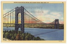 New York City - George Washington Bridge over Hudson River -1930s linen ... - $3.22