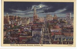 BALTIMORE MD SKYLINE FROM WASHINGTON MONUMENT~GENERAL NIGHT VIEW~c1940s ... - $3.63