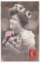 Beautiful Woman Flowers On Hair   Daisies   Retro Beauty Tinted C1910 Postcard - $4.23