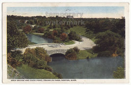 BOSTON MA, Franklin Park c1918 birds eye view, Arch Bridge & Duck Pond p... - $2.76