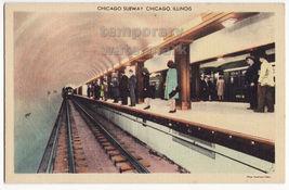 Chicago Illinois - Subway scene Train arriving on platform c1940s linen ... - $6.39