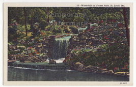 ST LOUIS Missouri -Waterfalls in Forest Park Scenic view 1950s MO linen postcard - $3.22