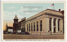 LEBANON PA  Street View 9th & Cumberland Market Square Nat. Bank c1930s postcard - $4.55