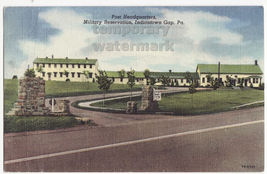 Indiantown Gap Pa   Military Reservation Post Headquarters C1940s Linen Postcard - $2.39