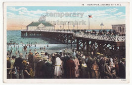 ATLANTIC CITY NJ, HEINZ PIER BEACH SCENE WITH PEOPLE c1928 vintage postcard - $7.31