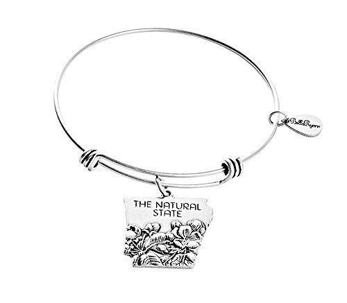 State of Arkansas Charm Bangle Bracelet (silver-plated-base) [Jewelry]