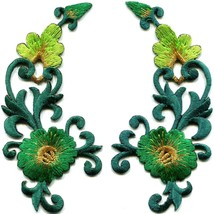 Green trim flowers boho art deco appliques iron-on patches pair new S-1214 - $3.75