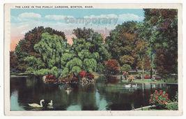 Boston MA, Lake in the Public Gardens 1930s vintage Massachusetts postcard - $3.63