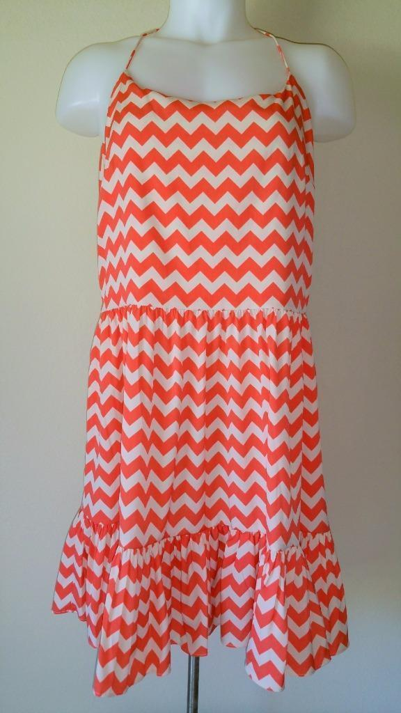 015593604d Gianni Bini S Y-Back Dress Coverup Salmon - Taupe Chevron Print Sundress  $79 NWT
