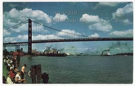 Detroit MI Ambassador Bridge 1960s view postcard - People fishing & Ships L8280 - $3.22