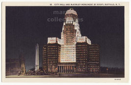 Buffalo NY City Hall and McKinley Monument Night View 1930s Linen Postca... - $3.45