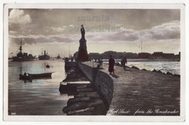 Egypt Port Said View fm Breakwater Ships 1930s Hand Colored Postcard RPP... - $5.34
