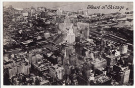 Heart of Chicago Aerial View, c1940s-50s vintage Illinois RPPC postcard ... - $6.39