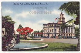 Coral Gables Florida View - Merrick Park and City Hall c1940s postcard M... - $3.22