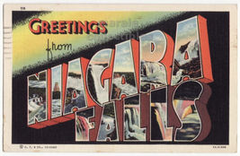 Greetings from Niagara Falls NY 1930s Large Letter Curt Teich postcard M8409 - $3.63