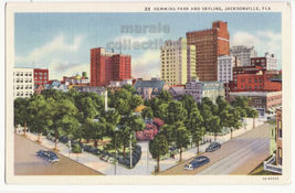Jacksonville FL, Hemming Park and Skyline 1930s linen Curt Teich postcar... - $3.63
