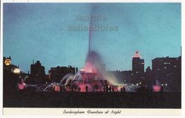 Chicago IL, Buckingham Fountain at Night c1960s postcard M8438 - $2.76