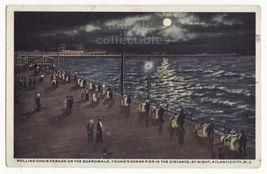 Atlantic City NJ Boardwalk Rolling Chair Parade Night View 1910s postcar... - $9.14