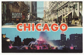 Chicago IL Greetings-State Street View-Buckingham Fountain c1960s postca... - $3.22