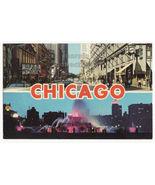 Chicago IL Greetings-State Street View-Buckingham Fountain c1960s postca... - $3.22