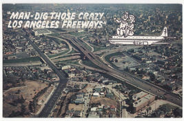 Crazy Los Angeles Freeways Aerial View Comic Airplane Couple 1960s postc... - $3.63