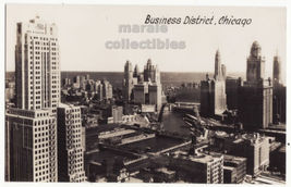 Chicago IL Business District General View 1930s Real Photo postcard RPPC... - $5.47