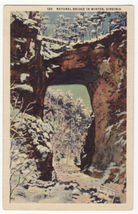 Natural Bridge in WInter, Virginia Rockbridge County c1930s linen postca... - $3.45