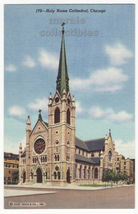 Chicago Illinois IL, Holy Name Cathedral 1940s Curt Teich unused postcar... - $3.22