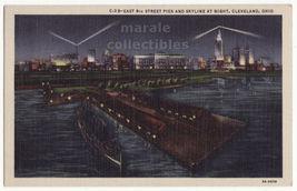 Cleveland Ohio East 9th Street Pier & Skyline Night View 1930s postcard ... - $4.14