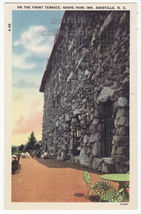 Asheville NC, Grove Park Inn, Front Terrace c1940s linen postcard M8564 - $2.71
