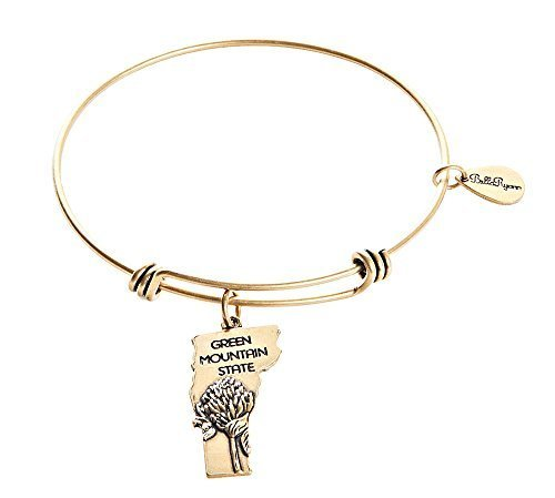 State of Vermont Charm Bangle Bracelet (gold-plated-base) [Jewelry]