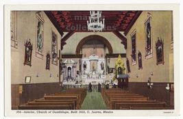 Cudad Juarez Mexico, Church of Guadalupe Interior c1930s postcard M8617 - $2.75