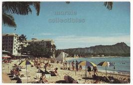Diamond Head & Moana Hotel Beach Scene Waiki Honolulu Hawaii 1960s postcard 8636 - $2.71