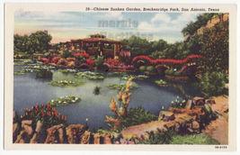 San Antonio TX Breckenridge Park Chinese Sunken Garden 1940s Texas postcard 8727 - $3.63