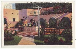 San Antonio TX Governor's Palace Patio and Fountain 1930s vintage postca... - $3.59