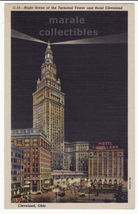 Cleveland OH Night View Terminal Tower Hotel Cleveland c1940s old postca... - $2.76